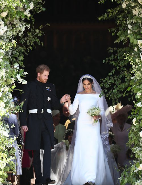 The Duke and Duchess of Sussex leave St George's Chapel. Picture: PA