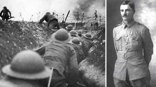 Lieutenant Arthur Hull, right, and the fierce trench warfare of the Western Front during World War I.