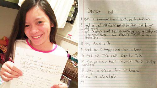 Ten-year-old girl pens extraordinary bucket list