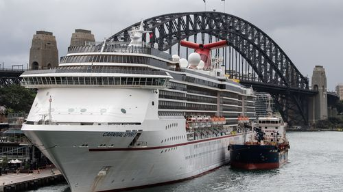 The Carnival Spirit Cruise Ship docked in Sydney, Monday, March 16, 2020.