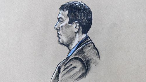 A court sketch of killer Brenden Bennetts. (AAP)