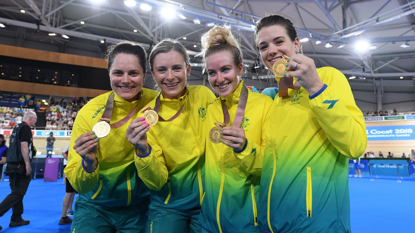Women's pursuit team power to cycling gold