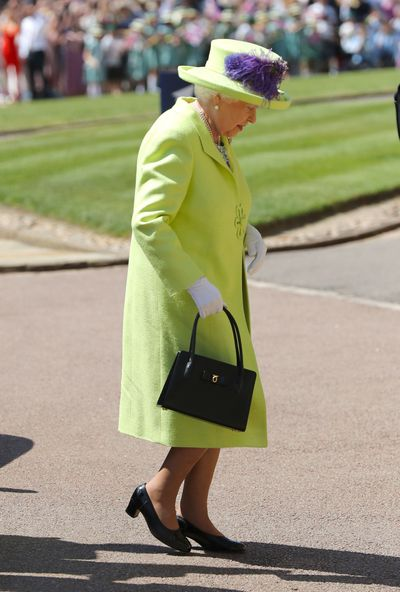 <p>Photo of <strong>Queen Elizabeth II arriving at Meghan Markle and Prince Harry's wedding</strong></p>