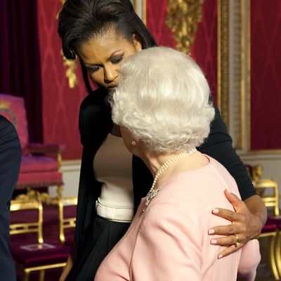 Michelle Obama with Queen Elizabeth, 2009