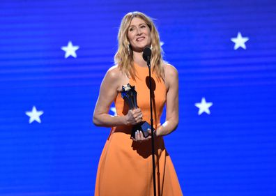 Laura Dern accepts the Best Supporting Actress award for 'Marriage Story'