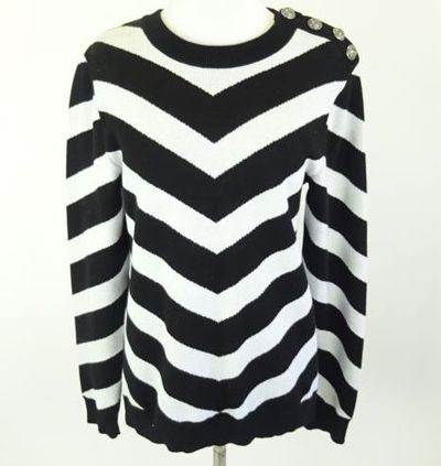 "Kim Kardashian West <a href=""https://www.ebay.com/rpp/kardashian/kim"" target=""_blank"">BALMAIN Black/White Striped CottonSweater</a> Size M, $240.10"