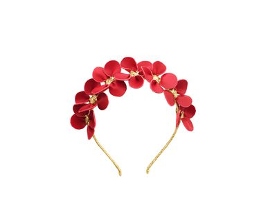"""<a href=""""https://viktorianovak.com.au/collections/leather-headpieces/gilly-strawberry-red.html"""" target=""""_blank"""">Viktoria Novak Gilly Strawberry Red Petal crown, $660.<br> </a>"""