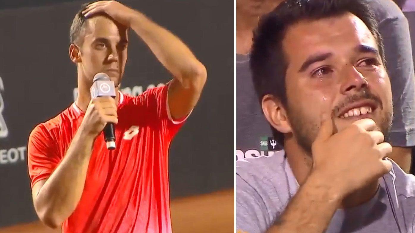 Serbian Laslo Djere has crowd in tears with heartbreaking maiden ATP tribute