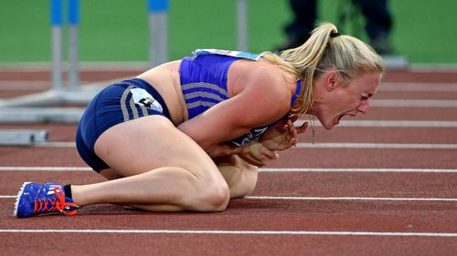 Sally Pearson has broken her wrist on the track of the Diamond League championships. (AAP)