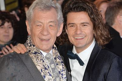 Best pals! Ian McKellan, who plays Gandalf in the series shares a snap happy moment with Orlando, who plays Legolas.