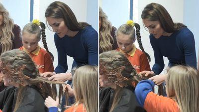 Kate Middleton helped little girls braid hair