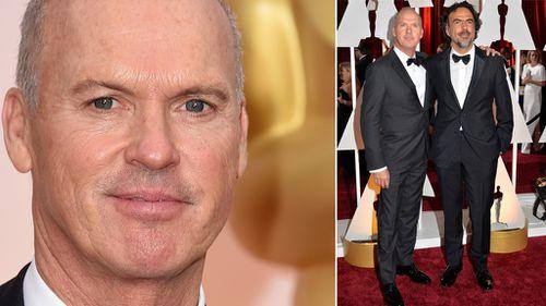 Michael Keaton with Birdman director Alejandro Gonzalez Inarritu on the Oscars red carpet. (Getty)
