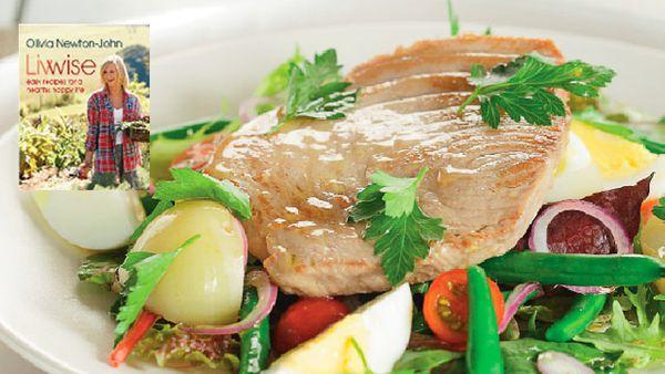 Tuna nicoise salad with Olivia's favourite dressing