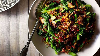 """Vibrant, packed with flavour and a perfect spicy treat to raise the temperature for your Valentine's night - <a href=""""http://kitchen.nine.com.au/2016/05/05/13/16/janet-deneefes-plecing-kangkung-spinach-salad"""" target=""""_top"""">Janet DeNeefe's plecing kangkung spinach salad</a>recipe"""
