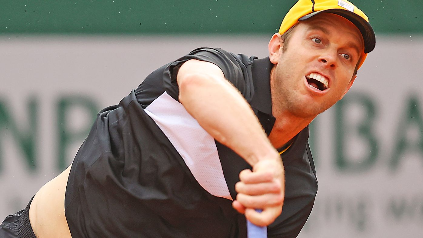 Sam Querrey of the United States serves