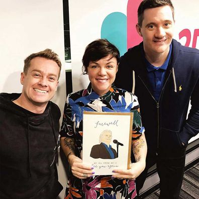 Em Rusciano with Ed Kavalee and Grant Denyer.