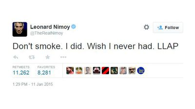 Nimoy suffered from pulmonary disease as a result of smoking. (Twitter)