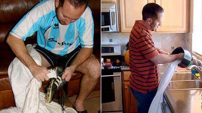 Polishing shoes and cleaning dishes. (MyExWifesWeddingDress.com)