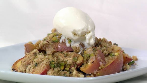 Nectarine and pistachio summer crumble
