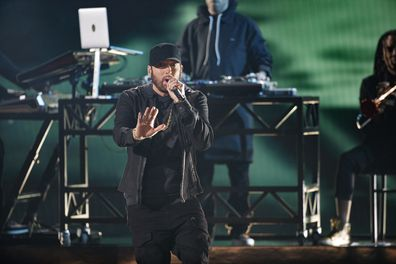 Eminem performs at the Oscars at the Dolby Theatre in Hollywood in February 2020.