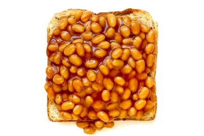 220g baked beans on two slices of toast