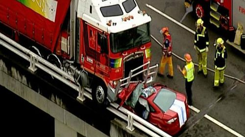 Aerial view ofthe fatal collision between a semi-trailer truck driven by Vincent George and the Logan family's Ford Mondeo car. (Supplied)