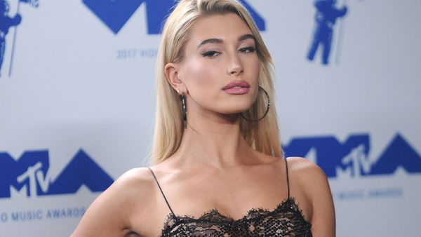 Hailey Baldwin was matron of honour at her sister Alaia's weekend wedding. Image: Getty