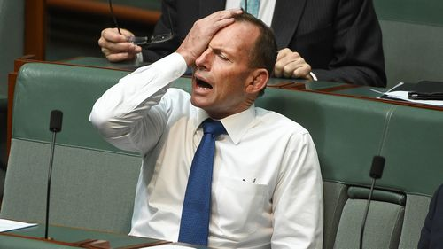 Former prime minister Tony Abbott during a division to suspend standing orders in the House of Representatives at Parliament House in Canberra, Monday, November 7, 2016. (AAP)