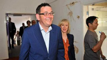Victoria's Premier-elect Daniel Andrews and his wife Cath. (AAP)