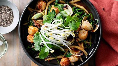 """Recipe:<a href=""""http://kitchen.nine.com.au/2016/05/16/17/22/kneaded-noodles-with-scallops-clams-ham-and-xo-sauce"""" target=""""_top"""" draggable=""""false"""">Kneaded noodles with scallops, clams, ham and XO sauce</a>"""