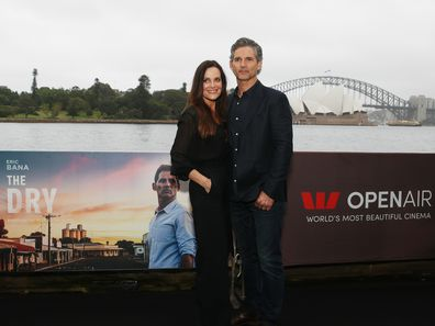 Eric Bana and wife Rebecca Bana attend the Sydney premiere of The Dry on December 15, 2020.