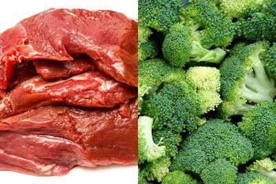 Kangaroo meat with broccoli