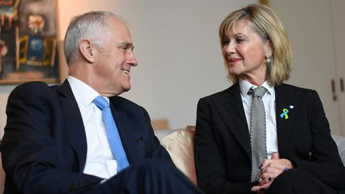 Malcolm Turnbull and Olivia Newton-John in Canberra today. (AAP)