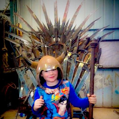 """<P>Still under construction in his shed, the throne has only been sat on by a few lucky people, including his grandson King Reilly Grant. </P> <P>""""I have sat in it, I've had my little grandson sit in it. Everyone who sits in it is quite amazed, you feel very enclosed and protected,"""" he said. </P> <P></P>"""