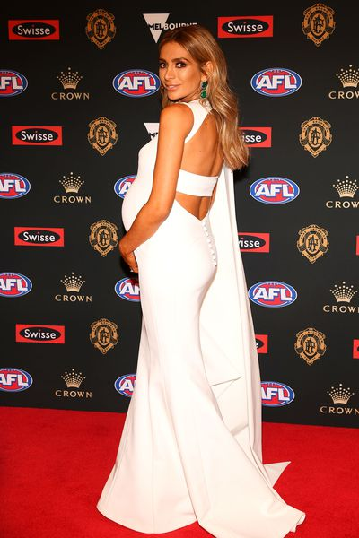 Fashion blogger Nadia Bartel, wife of Geelong's Jimmy Bartel, in J'Aton, at the 2018 Brownlow red carpet, September, 2018