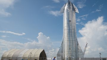 A prototype of SpaceX's Starship spacecraft is seen at the company's Texas launch facility