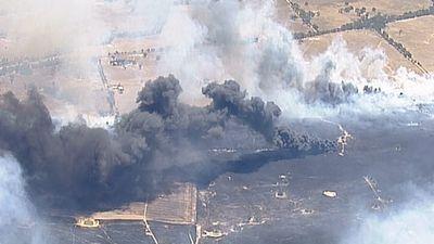 The dumping ground caught fire as part of the Grampians grass fire. (9NEWS)