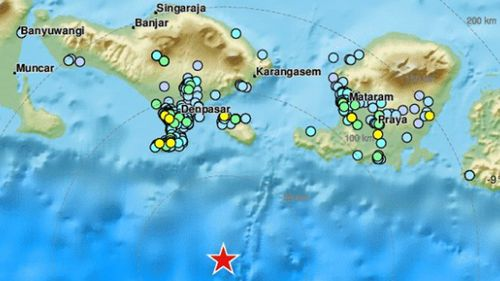 The earthquake erupted in waters about 60kms south of Bali. (EMSC).