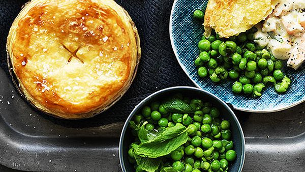 Creamy Australian prawn pot pies with minted peas