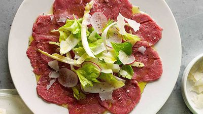 "Recipe:&nbsp;<a href=""http://kitchen.nine.com.au/2016/05/16/18/14/organic-beef-carpaccio-with-piedmontese-vegetables"" target=""_top"">Organic beef carpaccio with Piedmontese vegetables</a>"