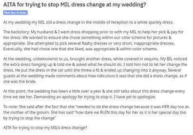 She explains they'd helped her mother-in-law pick out an appropriate dress ahead of the wedding.