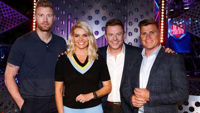 Australian Ninja Warrior 2020 hosts Freddie Flintoof, Rebecca Maddern, Ben Fordham, Shane Crawford