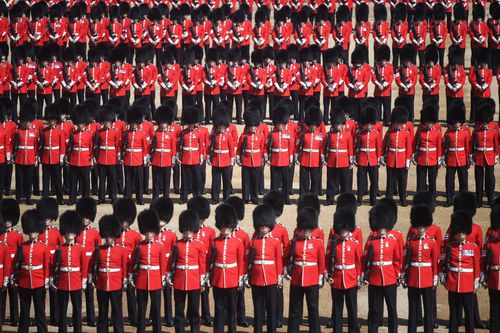 Members of the 1st Battalion Coldstream Guards during the Trooping the Colour ceremony at Horse Guards Parade.