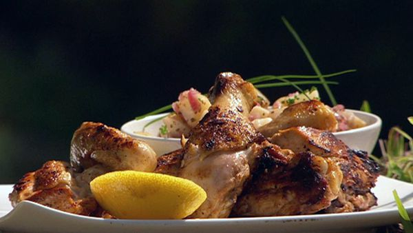 Barbecue marinated chicken with hot potato salad