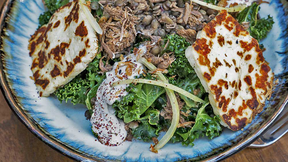 Wild Sage's lamb, haloumi and lentil salad recipe
