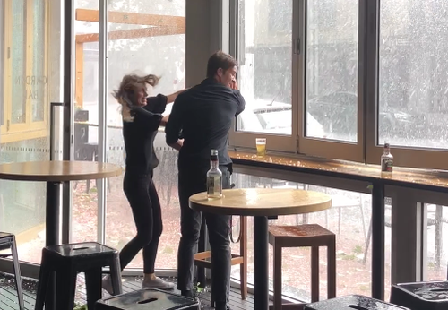 Wild weather in Geelong forced a bar to shut the patio. (Supplied)