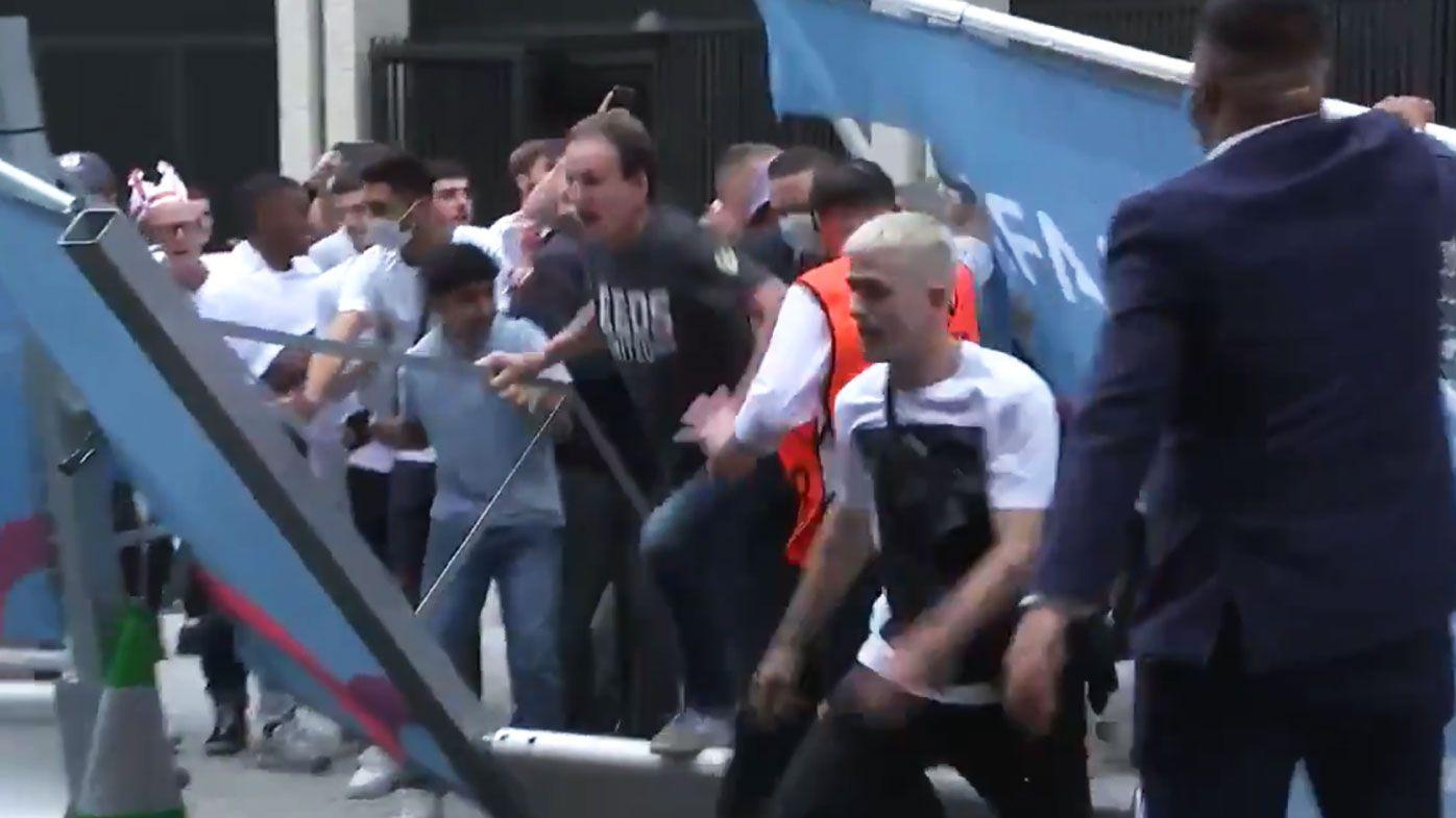English fans storm Wembley.