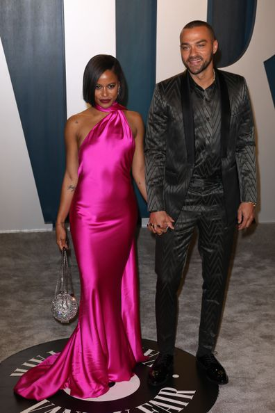 Taylour Paige and Jesse Williams attend the 2020 Vanity Fair Oscar Party at Wallis Annenberg Center for the Performing Arts on February 09, 2020 in Beverly Hills, California.