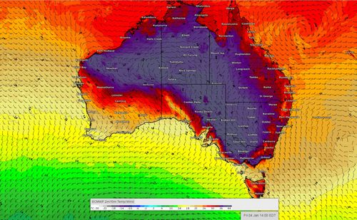 Australia heatwave weather map