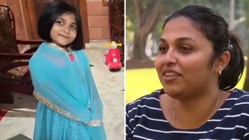 Five-year-old Johannah is in India while her grandparents, while her mum Drisya Pathikkal Eldo and dad are in Sydney.